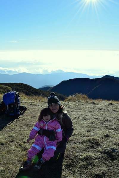 Gretchen with her daughter on Mount Pulag
